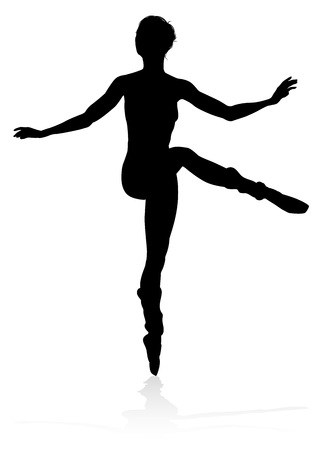 Dancing Ballet Dancer Silhouette Stock Illustratie