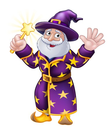 Een tovenaar Merlin goochelaar Halloween stripfiguur zwaaien Vector Illustratie