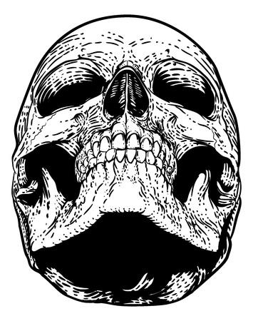 Illustrazione d'epoca xilografia del cranio Grim Reaper