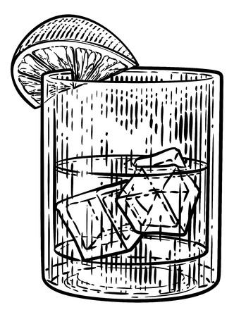 Bebida Cóctel en Vaso con Hielo y Limón o Lima Ilustración de vector