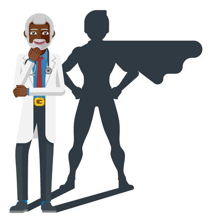 Mature Black Medical Doctor Super Hero Shadow