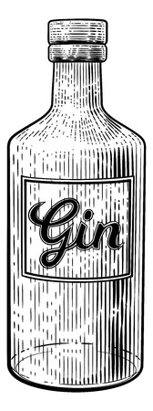 Gin Glass Bottle Vintage Woodcut Etching Style