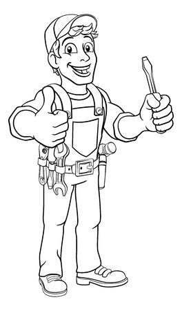 Electrician Cartoon Handyman Plumber Mechanic Illusztráció