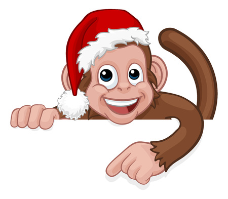 Christmas Monkey Cartoon Character in Santa Hat Banque d'images - 128531160