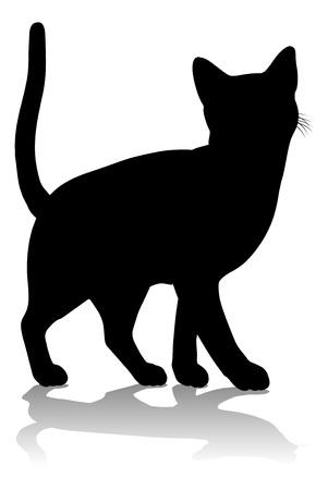 Silhouette Cat Pet Animal Illusztráció