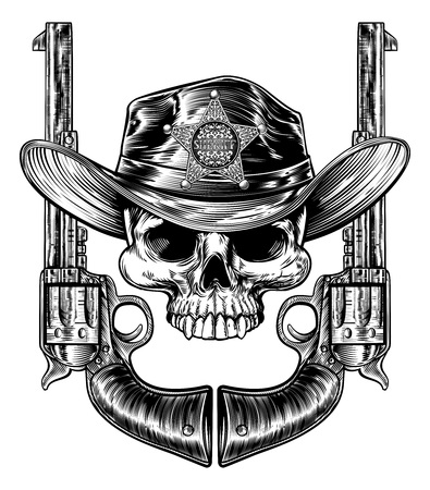 Pistols and Skull with Sheriff Star and Cowboy Hat