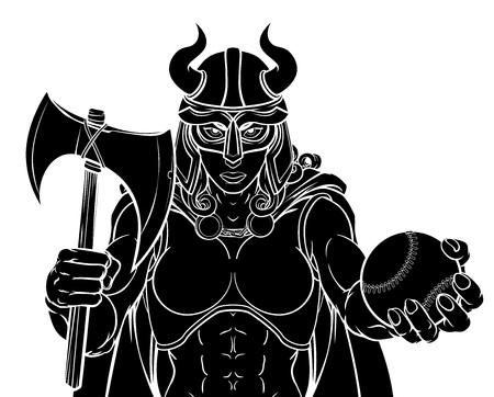 Viking Female Gladiator Baseball Warrior Woman Illusztráció