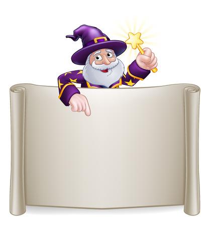 Wizard Cartoon Character Sign Scroll Illusztráció
