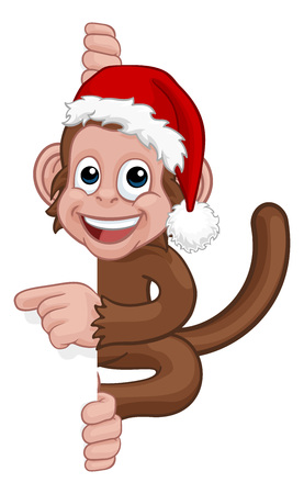 Christmas Monkey Cartoon Character in Santa Hat Banque d'images - 128533700
