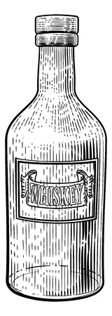 Whiskey or Whisky Glass Bottle Woodcut Etching