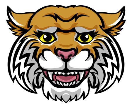 Wildcat Mascot Cute Happy Cartoon Character Ilustracja