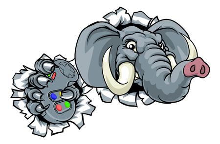 Elephant Video Games Controller Gamer Mascot