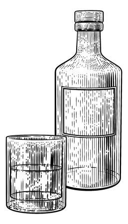 Drink Bottle and Glass in Vintage Woodcut Style