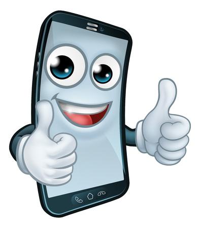 Mobile Phone Thumbs Up Cartoon Mascot Illusztráció