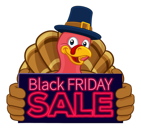 Turkey Black Friday Sale Cartoon Character