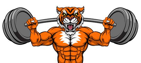 Tiger Maskottchen Gewichtheben Langhantel Bodybuilder Vektorgrafik