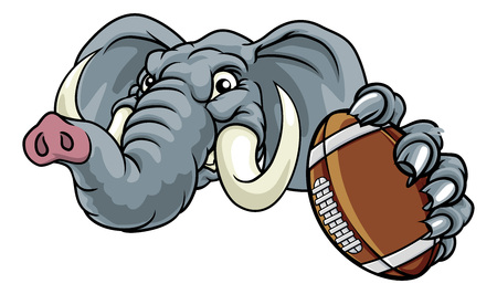 Elephant American Football Ball Sports Mascot