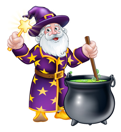 Wizard with Wand and Cauldron Cartoon