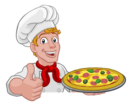 Pizza Chef Cartoon Illusztráció