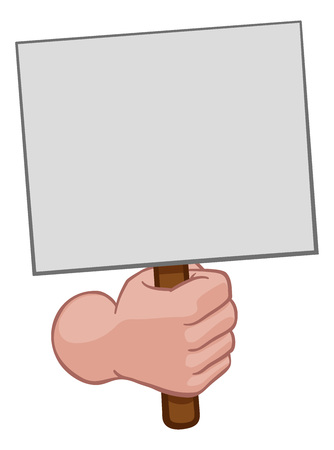 Hand Fist Holding a Blank Sign or Placard Cartoon 일러스트