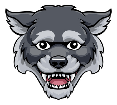 loup, mascotte, mignon, heureux, dessin animé, caractère