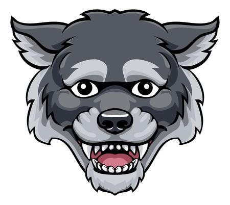 Wolf-Maskottchen-nette glückliche Zeichentrickfigur