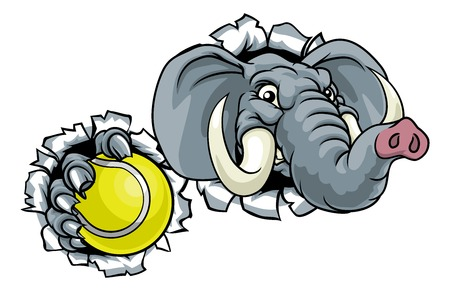 Elephant Tennis Ball Sports Animal Mascot 일러스트