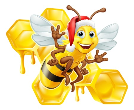 Honey Bumble Bee in Santa Christmas Hat Cartoon