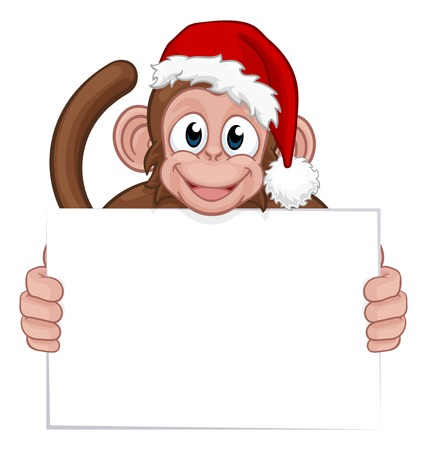 Christmas Monkey Cartoon Character in Santa Hat