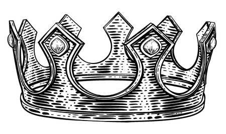 Royal King Crown Vintage Retro Style Illustration