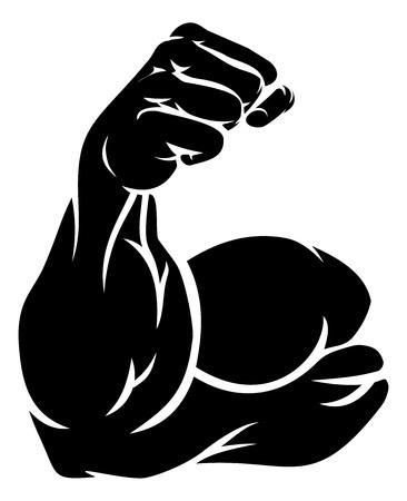 Braccio forte che mostra il muscolo bicipite