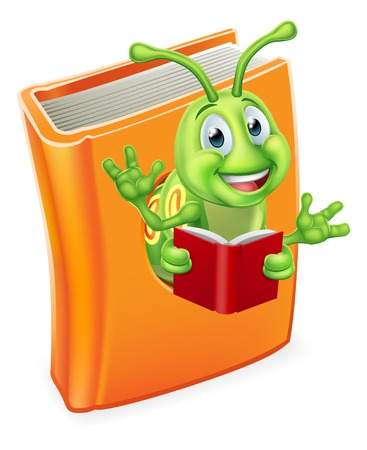 A cute bookworm caterpillar worm cartoon character education mascot coming out of a books reading  Illusztráció