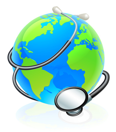 Conceptual illustration of the world with a stethoscope wrapped around it. Illusztráció