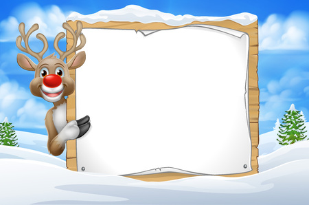 Christmas reindeer peeking around a sign in a snowy scene winter landscape cartoon