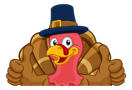 Turkey Pilgrim Hat Thanksgiving Cartoon Character  イラスト・ベクター素材