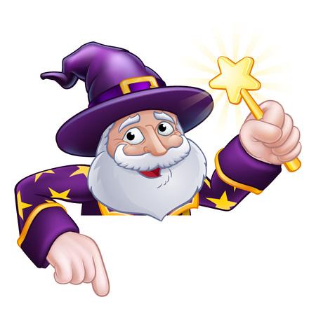 Wizard Cartoon Gluren Over Teken Wijzend