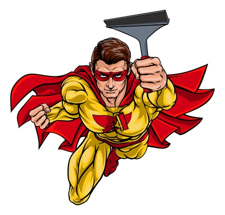 Super Window Cleaner Superhero Holding Squeegee  イラスト・ベクター素材