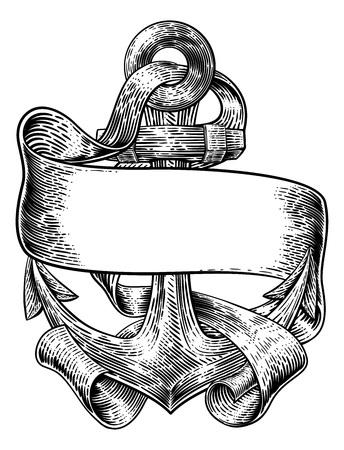 Ancre de dessin de tatouage de bateau ou de bateau