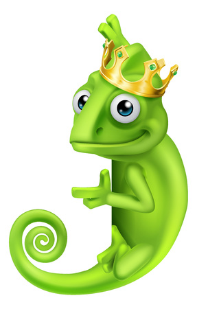 Chameleon King Crown Cartoon Lizard Character  イラスト・ベクター素材