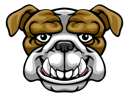 Bulldoggen-Maskottchen niedliche glückliche Zeichentrickfigur