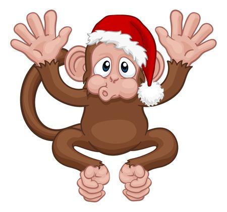 Personaje de dibujos animados de mono de Navidad de sombrero de Santa Ilustración de vector