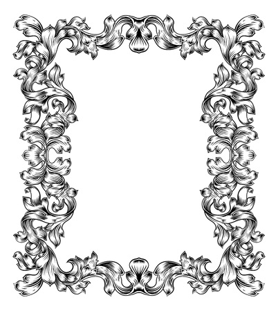 Vintage Filigree Frame Border Pattern Scroll Leaf