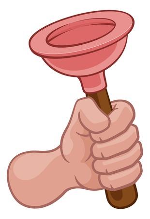 Plumber Hand Fist Holding Plumbing Toilet Plunger