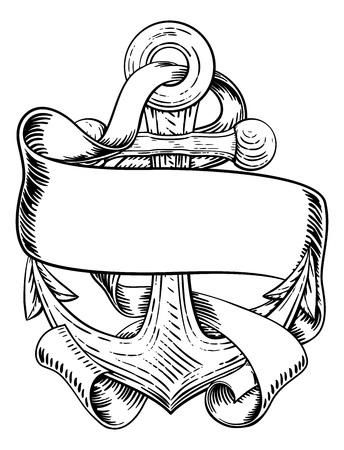 Ancre de dessin de tatouage de bateau ou de bateau Vecteurs