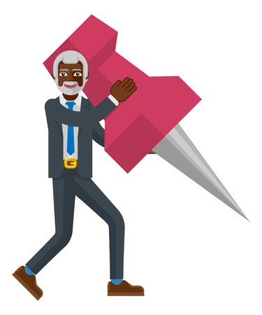 Mature Black Business Man Holding Thumb Tack Pin
