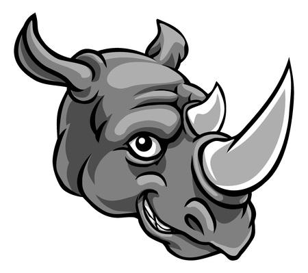 Mascota de rinoceronte lindo personaje de dibujos animados feliz