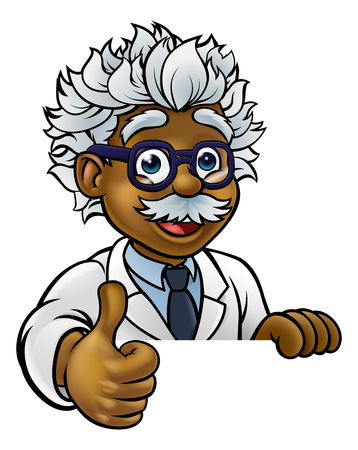 Scientist Cartoon Character Sign Thumbs Up Stok Fotoğraf - 129033011