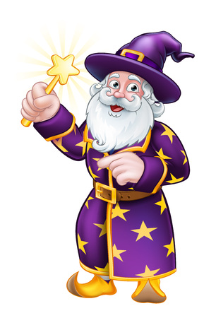Wizard with Wand Pointing Cartoon Character  イラスト・ベクター素材