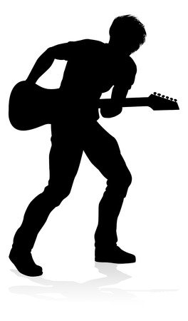 Musician Guitarist Silhouette Banque d'images - 129174308
