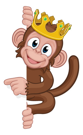 Monkey King Crown Cartoon Animal Pointing At Sign Stok Fotoğraf - 129174311